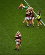 25 August 2019; Galway players celebrate following the TG4 All-Ireland Ladies Senior Football Championship Semi-Final match between Galway and Mayo at Croke Park in Dublin. Photo by Eóin Noonan/Sportsfile
