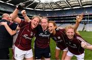 25 August 2019; Galway players, from left, Mairéad Coyne, Olivia Divilly and Louise Ward celebrate with Ciara Moran, second from left, from the Galway coaching staff, following the TG4 All-Ireland Ladies Senior Football Championship Semi-Final match between Galway and Mayo at Croke Park in Dublin. Photo by Sam Barnes/Sportsfile