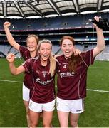 25 August 2019; Sarah Conneally, Megan Glynn and Sarah Lynch of Galway celebrate following the TG4 All-Ireland Ladies Senior Football Championship Semi-Final match between Galway and Mayo at Croke Park in Dublin. Photo by Sam Barnes/Sportsfile