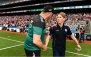 25 August 2019; Galway manager Tim Rabbitt, right, and Mayo manager Peter Leahy shake hands following the TG4 All-Ireland Ladies Senior Football Championship Semi-Final match between Galway and Mayo at Croke Park in Dublin. Photo by Sam Barnes/Sportsfile