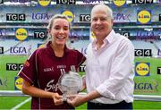 25 August 2019; Megan Glynn of Galway receives the Player of the Match award from Ard Stiúrthóir TG4, Alan Esslemont following the TG4 All-Ireland Ladies Senior Football Championship Semi-Final match between Galway and Mayo at Croke Park in Dublin. Photo by Brendan Moran/Sportsfile