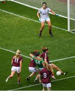 25 August 2019; Rachel Kearns of Mayo has a shot on goal blocked by Mairéad Seoighe of Galway late in the game during the TG4 All-Ireland Ladies Senior Football Championship Semi-Final match between Galway and Mayo at Croke Park in Dublin. Photo by Eóin Noonan/Sportsfile