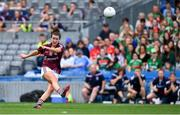 25 August 2019; Róisín Leonard of Galway kicks the winning point from a free during the TG4 All-Ireland Ladies Senior Football Championship Semi-Final match between Galway and Mayo at Croke Park in Dublin. Photo by Brendan Moran/Sportsfile