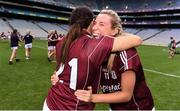 25 August 2019; Megan Glynn of Galway, right, celebrates with Fabienne Cooney following the TG4 All-Ireland Ladies Senior Football Championship Semi-Final match between Galway and Mayo at Croke Park in Dublin. Photo by Sam Barnes/Sportsfile