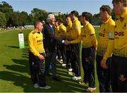 25 August 2019; Cricket Ireland President David O'Connor is introduced to the Malahide players by captain Fintan McAllister prior to the All-Ireland T20 Cricket Final match between CIYMS and Malahide at Stormont in Belfast. Photo by Seb Daly/Sportsfile