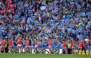 25 August 2019; A large crowd look on during the parade prior to the TG4 All-Ireland Ladies Senior Football Championship Semi-Final match between Dublin and Cork at Croke Park in Dublin. Photo by Brendan Moran/Sportsfile