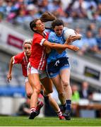 25 August 2019; Lyndsey Davey of Dublin in action against Eimear Meaney of Cork during the TG4 All-Ireland Ladies Senior Football Championship Semi-Final match between Dublin and Cork at Croke Park in Dublin. Photo by Sam Barnes/Sportsfile