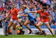 25 August 2019; Carla Rowe of Dublin in action against Eimear Meaney, left, and Melissa Duggan of Cork during the TG4 All-Ireland Ladies Senior Football Championship Semi-Final match between Dublin and Cork at Croke Park in Dublin. Photo by Sam Barnes/Sportsfile