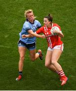 25 August 2019; Shauna Kelly of Cork is tackled by Carla Rowe of Dublin during the TG4 All-Ireland Ladies Senior Football Championship Semi-Final match between Dublin and Cork at Croke Park in Dublin. Photo by Eóin Noonan/Sportsfile