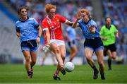 25 August 2019; Niamh Cotter of Cork in action against Lauren Magee of Dublin during the TG4 All-Ireland Ladies Senior Football Championship Semi-Final match between Dublin and Cork at Croke Park in Dublin. Photo by Brendan Moran/Sportsfile