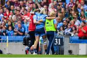 25 August 2019; Nicole Owens of Dublin leaves the pitch with an injury during the TG4 All-Ireland Ladies Senior Football Championship Semi-Final match between Dublin and Cork at Croke Park in Dublin. Photo by Brendan Moran/Sportsfile