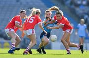 25 August 2019; Lauren Magee of Dublin in action against Cork players, from left, Eimear Scally, Orla Finn and Maire O'Callaghan during the TG4 All-Ireland Ladies Senior Football Championship Semi-Final match between Dublin and Cork at Croke Park in Dublin. Photo by Brendan Moran/Sportsfile