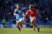 25 August 2019; Orla Finn of Cork in action against Aoife Kane of Dublin during the TG4 All-Ireland Ladies Senior Football Championship Semi-Final match between Dublin and Cork at Croke Park in Dublin. Photo by Sam Barnes/Sportsfile