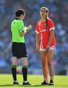 25 August 2019; Eimear Meaney of Cork reacts as she is shown a yellow card by referee Maggie Farrelly during the TG4 All-Ireland Ladies Senior Football Championship Semi-Final match between Dublin and Cork at Croke Park in Dublin. Photo by Brendan Moran/Sportsfile