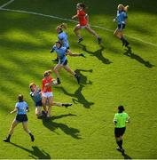 25 August 2019; Ciara O'Sullivan of Cork is tackled by Lauren Magee of Dublin during the TG4 All-Ireland Ladies Senior Football Championship Semi-Final match between Dublin and Cork at Croke Park in Dublin. Photo by Eóin Noonan/Sportsfile