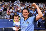 25 August 2019; Lyndsey Davey of Dublin, celebrates with her niece Caoimhe Davey, following the the TG4 All-Ireland Ladies Senior Football Championship Semi-Final match between Dublin and Cork at Croke Park in Dublin. Photo by Sam Barnes/Sportsfile