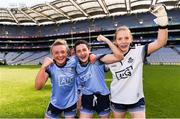 25 August 2019; Dublin players, from left, Carla Rowe, Lyndsey Davey, and Ciara Trant celebrate following the TG4 All-Ireland Ladies Senior Football Championship Semi-Final match between Dublin and Cork at Croke Park in Dublin. Photo by Sam Barnes/Sportsfile