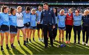 25 August 2019; Dublin manager Mick Bohan gives a team talk following the TG4 All-Ireland Ladies Senior Football Championship Semi-Final match between Dublin and Cork at Croke Park in Dublin. Photo by Sam Barnes/Sportsfile