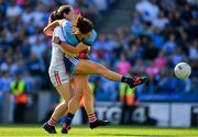 25 August 2019; Niamh Collins of Dublin is fouled by Cork goalkeeper Martina O'Brien resulting in a penalty during the TG4 All-Ireland Ladies Senior Football Championship Semi-Final match between Dublin and Cork at Croke Park in Dublin. Photo by Brendan Moran/Sportsfile