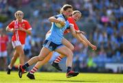 25 August 2019; Aoife Kane of Dublin is tackled by Aine O'Sullivan of Cork during the TG4 All-Ireland Ladies Senior Football Championship Semi-Final match between Dublin and Cork at Croke Park in Dublin. Photo by Brendan Moran/Sportsfile