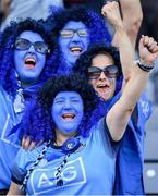 25 August 2019; Dublin supporters cheer on their side during the TG4 All-Ireland Ladies Senior Football Championship Semi-Final match between Dublin and Cork at Croke Park in Dublin. Photo by Brendan Moran/Sportsfile
