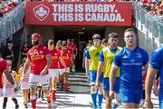 24 August 2019; Leinster and Canada take the field before the pre-season friendly at Tim Hortons Field in Hamilton, Canada. Photo by Kevin Sousa/Sportsfile
