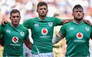 24 August 2019; Ireland players, from left, Jordan Larmour, Ross Byrne and Andrew Porter prior to the Quilter International match between England and Ireland at Twickenham Stadium in London, England. Photo by Brendan Moran/Sportsfile