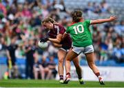 25 August 2019; Mairéad Seoighe of Galway in action against Sinéad Cafferky of Mayo during the TG4 All-Ireland Ladies Senior Football Championship Semi-Final match between Galway and Mayo at Croke Park in Dublin. Photo by Sam Barnes/Sportsfile