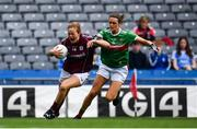 25 August 2019; Sarah Conneally of Galway in action against Ciara McManamon of Mayo during the TG4 All-Ireland Ladies Senior Football Championship Semi-Final match between Galway and Mayo at Croke Park in Dublin. Photo by Sam Barnes/Sportsfile