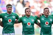 24 August 2019; Ireland players, from left, Josh van der Flier, Sean Cronin and Andrew Conway prior to the Quilter International match between England and Ireland at Twickenham Stadium in London, England. Photo by Brendan Moran/Sportsfile