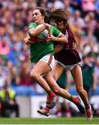 25 August 2019; Niamh Kelly of Mayo in action against Olivia Divilly of Galway during the TG4 All-Ireland Ladies Senior Football Championship Semi-Final match between Galway and Mayo at Croke Park in Dublin. Photo by Sam Barnes/Sportsfile