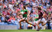 25 August 2019; Niamh Kelly of Mayo in action against Shauna Molloy of Galway during the TG4 All-Ireland Ladies Senior Football Championship Semi-Final match between Galway and Mayo at Croke Park in Dublin. Photo by Sam Barnes/Sportsfile