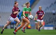 25 August 2019; Grace Kelly of Mayo in action against Sarah Lynch of Galway during the TG4 All-Ireland Ladies Senior Football Championship Semi-Final match between Galway and Mayo at Croke Park in Dublin. Photo by Brendan Moran/Sportsfile