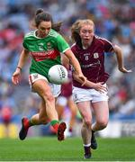 25 August 2019; Niamh Kelly of Mayo in action against Louise Ward of Galway during the TG4 All-Ireland Ladies Senior Football Championship Semi-Final match between Galway and Mayo at Croke Park in Dublin. Photo by Brendan Moran/Sportsfile