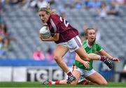 25 August 2019; Sinéad Burke of Galway in action against Niamh Kelly of Mayo during the TG4 All-Ireland Ladies Senior Football Championship Semi-Final match between Galway and Mayo at Croke Park in Dublin. Photo by Brendan Moran/Sportsfile