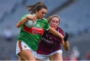 25 August 2019; Niamh Kelly of Mayo in action against Mairéad Seoighe of Galway during the TG4 All-Ireland Ladies Senior Football Championship Semi-Final match between Galway and Mayo at Croke Park in Dublin. Photo by Brendan Moran/Sportsfile