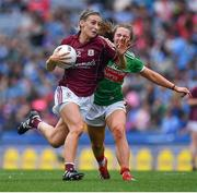 25 August 2019; Sinéad Burke of Galway in action against Sinéad Cafferky of Mayo during the TG4 All-Ireland Ladies Senior Football Championship Semi-Final match between Galway and Mayo at Croke Park in Dublin. Photo by Brendan Moran/Sportsfile