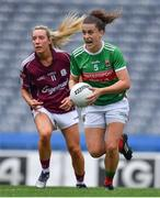 25 August 2019; Kathryn Sullivan of Mayo in action against Megan Glynn of Galway during the TG4 All-Ireland Ladies Senior Football Championship Semi-Final match between Galway and Mayo at Croke Park in Dublin. Photo by Brendan Moran/Sportsfile