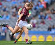 25 August 2019; Sarah Conneally of Galway in action against Ciara McManamon of Mayo during the TG4 All-Ireland Ladies Senior Football Championship Semi-Final match between Galway and Mayo at Croke Park in Dublin. Photo by Brendan Moran/Sportsfile