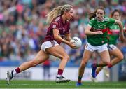 25 August 2019; Megan Glynn of Galway in action against Ciara Whyte of Mayo during the TG4 All-Ireland Ladies Senior Football Championship Semi-Final match between Galway and Mayo at Croke Park in Dublin. Photo by Brendan Moran/Sportsfile