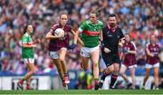 25 August 2019; Olivia Divilly of Galway in action against Clodagh McManamon of Mayo during the TG4 All-Ireland Ladies Senior Football Championship Semi-Final match between Galway and Mayo at Croke Park in Dublin. Photo by Brendan Moran/Sportsfile
