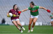 25 August 2019; Leanne Coen of Galway in action against Emma Needham of Mayo during the TG4 All-Ireland Ladies Senior Football Championship Semi-Final match between Galway and Mayo at Croke Park in Dublin. Photo by Brendan Moran/Sportsfile