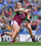 25 August 2019; Róisín Leonard of Galway in action against Ciara McManamon of Mayo during the TG4 All-Ireland Ladies Senior Football Championship Semi-Final match between Galway and Mayo at Croke Park in Dublin. Photo by Brendan Moran/Sportsfile