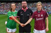 25 August 2019; Referee Seamus Mulvihill with team captains Niamh Kelly of Mayo, left, and Tracey Leonard of Galway prior to the TG4 All-Ireland Ladies Senior Football Championship Semi-Final match between Galway and Mayo at Croke Park in Dublin. Photo by Brendan Moran/Sportsfile