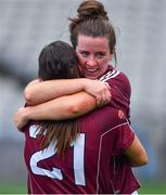25 August 2019; Róisín Leonard, right, and Fabienne Cooney of Galway celebrate after the TG4 All-Ireland Ladies Senior Football Championship Semi-Final match between Galway and Mayo at Croke Park in Dublin. Photo by Brendan Moran/Sportsfile
