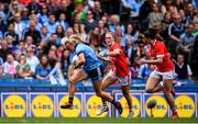 25 August 2019; Carla Rowe of Dublin in action against Eimear Kiely, left, and Shauna Kelly of Cork during the TG4 All-Ireland Ladies Senior Football Championship Semi-Final match between Dublin and Cork at Croke Park in Dublin. Photo by Sam Barnes/Sportsfile