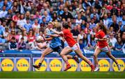 25 August 2019; Carla Rowe of Dublin in action against Eimear Kiely, right, and Shauna Kelly of Cork during the TG4 All-Ireland Ladies Senior Football Championship Semi-Final match between Dublin and Cork at Croke Park in Dublin. Photo by Sam Barnes/Sportsfile