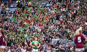 25 August 2019; Supporters cheer on their team during the TG4 All-Ireland Ladies Senior Football Championship Semi-Final match between Galway and Mayo at Croke Park in Dublin. Photo by Brendan Moran/Sportsfile