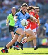 25 August 2019; Aoife Kane of Dublin in action against Aine O'Sullivan of Cork during the TG4 All-Ireland Ladies Senior Football Championship Semi-Final match between Dublin and Cork at Croke Park in Dublin. Photo by Brendan Moran/Sportsfile