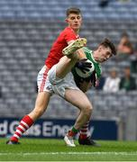 10 August 2019; Owen McHale of Mayo in action against Darragh Cashman of Cork during the Electric Ireland GAA Football All-Ireland Minor Championship Semi-Final match between Cork and Mayo at Croke Park in Dublin. Photo by Ray McManus/Sportsfile